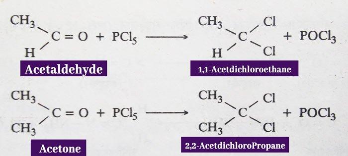 Aldehydes and ketones phosphorus pentachloride