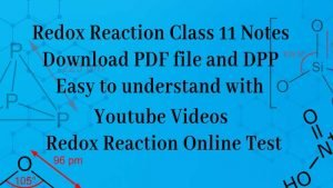 Redox Reaction class 11 Notes: Download PDF files and DPP
